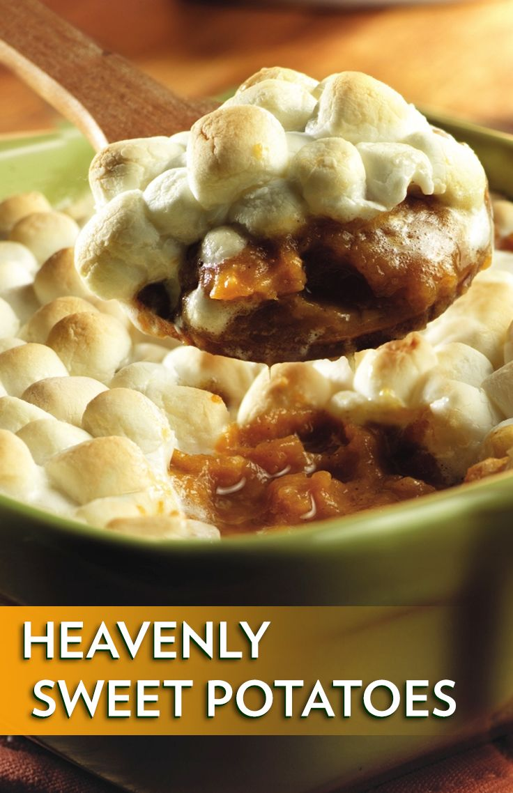 Heavenly Sweet Potatoes Recipe - Gooey marshmallows top a cinnamon-seasoned sweet potato purée for a delicious side dish that pairs perfectly with ham or turkey.