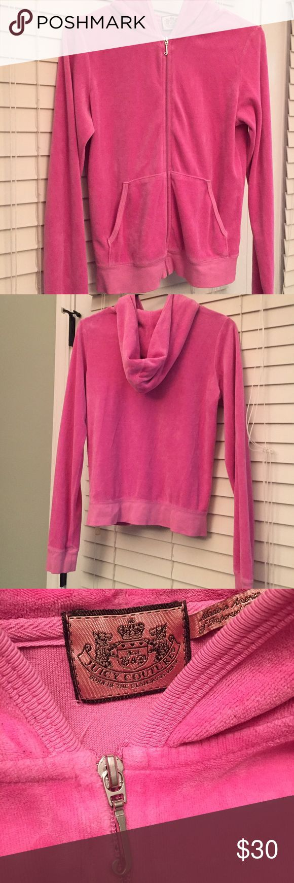 """Juicy Couture Original Velour Jacket Pink Juicy Couture Original Velour Jacket. Size Large. Features a hood, the signature """"j"""" zipper pull, and two front pockets. Only worn once! Juicy Couture Tops Sweatshirts & Hoodies"""