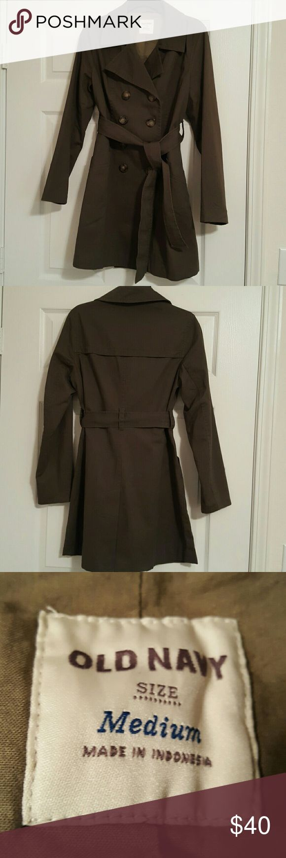 Old Navy Olive Green Lightweight Trench Coat Double breasted with green and brown buttons. Lined. Only worn once. Old Navy Jackets & Coats Trench Coats