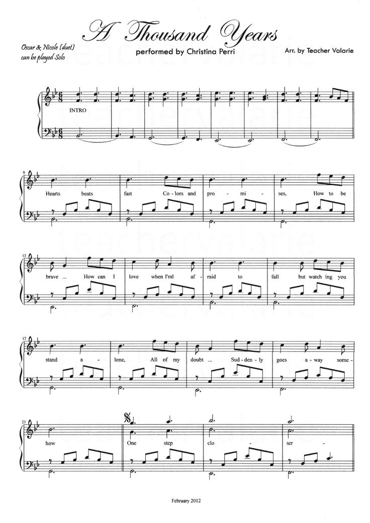 Partituras Musicais: A thousand Years - Christina Perri - para Piano - n.º 779