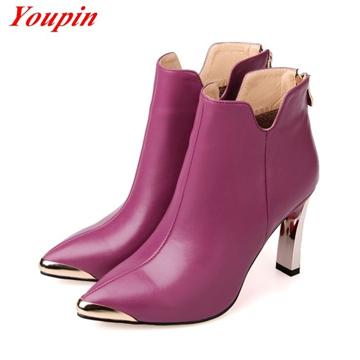 56.33$  Watch here - http://alif3s.worldwells.pw/go.php?t=32551191052 - Luxury wild woman boots 2015 Autumn winter Pointed Toe zipper Genuine Leather Ankle boots Duantong Fashion style winter boots 56.33$