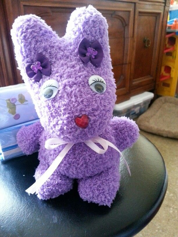 Easter  Bunny made of a fluffy sock