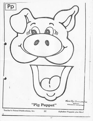 146 best titeres images on pinterest paper bag puppets for Pig puppet template