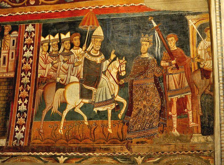 Ciclo affreschi XIII secolo Papa Silvestro fa il suo ingresso in Roma preceduto da Costantino che regge la briglia al cavallo - Roma. Basilica dei Santi Quattro Coronati. Aula Gotica. #TuscanyAgriturismoGiratola