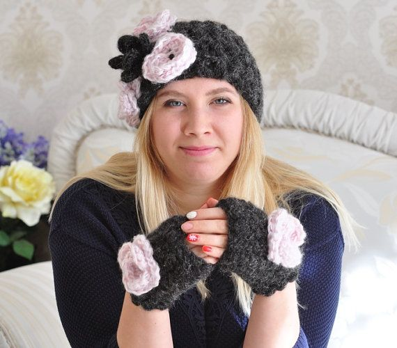 Knitted Crochet Chunky Black & Pink Mohair Cozy Romantic Sweater Warm Ladies Headband and Mittens Set