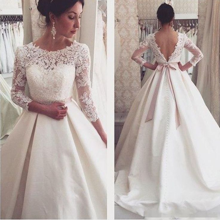 WD57 Lace Backless Wedding Dresses,Wedding Dress,Custom Made Wedding Gown, - Thumbnail 1