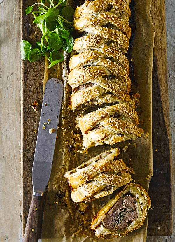 Fennel-spiced sausage plait - is a grown-up take on everyone's favourite picnic snack. Made with an added kick of chilli and mustard with a crunch of sesame, this makes for a comforting midweek meal.