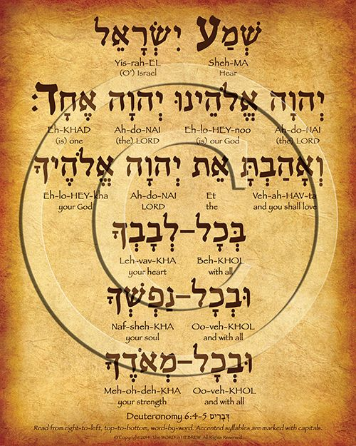 """Httpwww Overlordsofchaos Comhtmlorigin Of The Word Jew Html: The Shema Prayer Hebrew Poster (""""Hear O' Israel..."""")"""