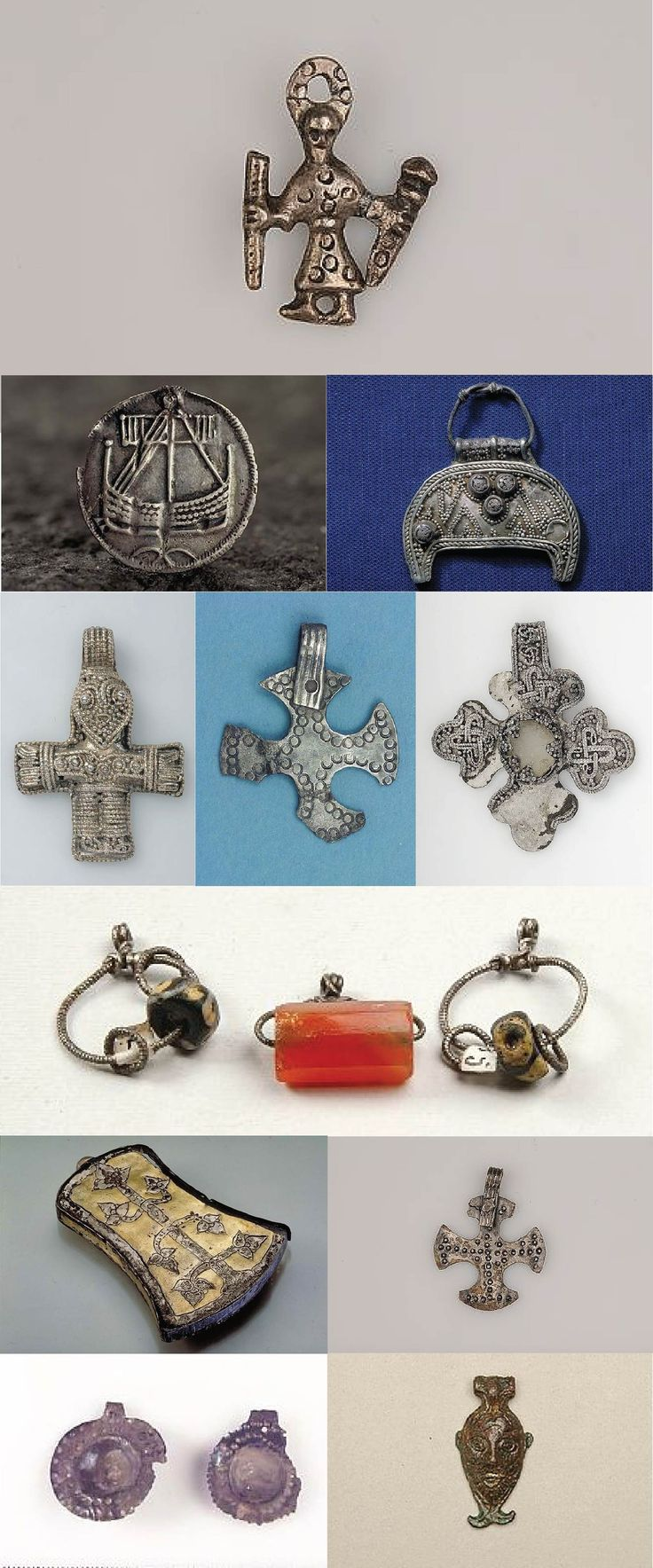 A collection of necklaces and pendants from Birka.