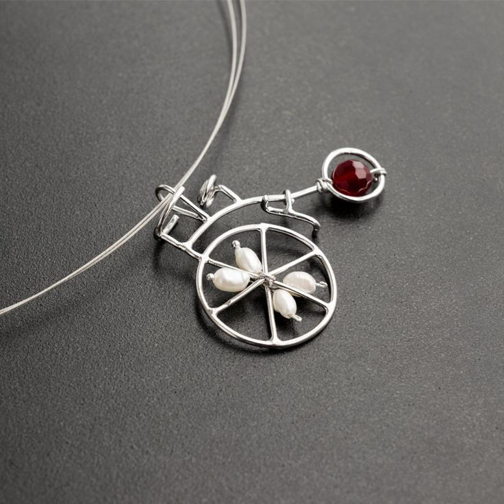 Emmanuela.gr - Sterling Silver Bicycle Pendant with Pearls