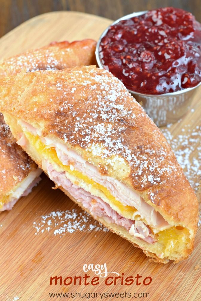 Easy Monte Cristo sandwich recipe using Pillsbury Crescent Rolls. All the flavor, less work!