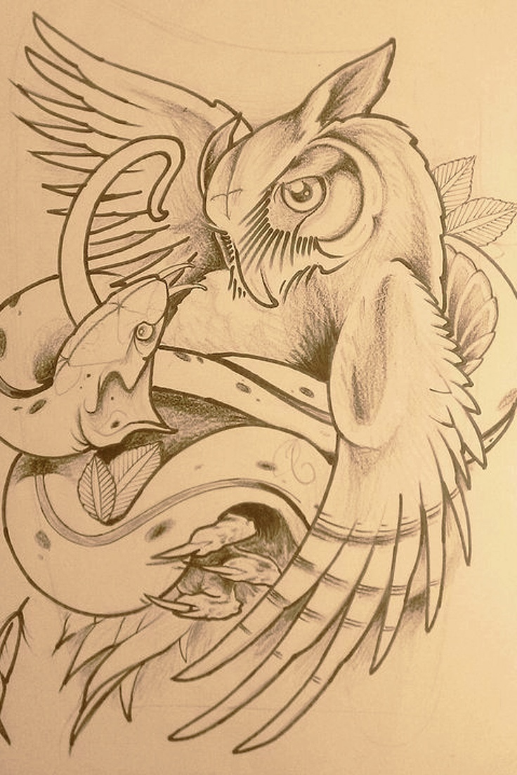 owl-and-snake-sketch: would make the owl more menacing. Maybe retool the snake a little also.