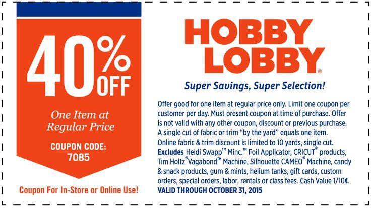 HobbyLobby.com Promo Coupon 40% off a single item at Hobby Lobby, or online via promo code 7085