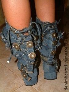 Обувь ручной работы. Заказать Сапоги джинсовые, 3см. каблук. Denim Boots (джинсовая обувь). Ярмарка Мастеров. Джинсовый стиль