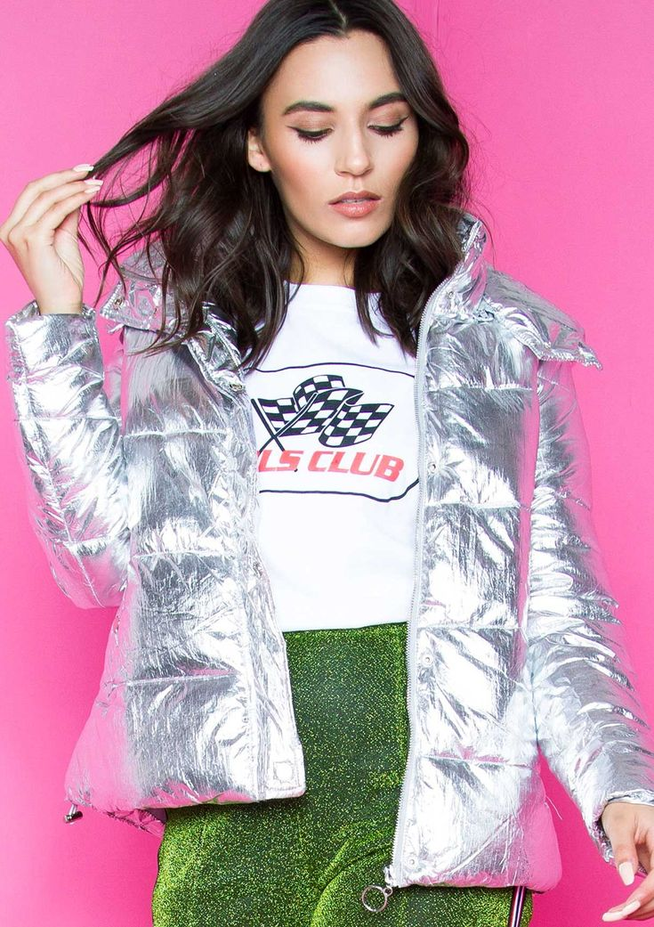 Darcy Silver Metallic Puffer Coat Missy Empire