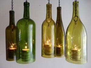 Great recycling idea.: Wine Bottle Planter, Wine Bottle Lanterns, Candles Holders, Wine Bottle Lamps, Recycled Ideas, Wine Bottle Gardens, Wine Bottle Candles, Wine Bottles, Leftover Wine