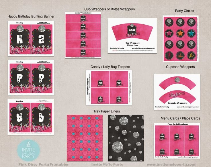 Pink Disco Party Decoration Printables  Invite Me To Party: Pink Disco Party / Pink Dance Party