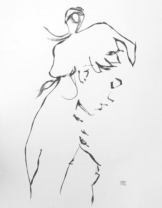 Large expressive contemporary minimal line female figurative ink drawing