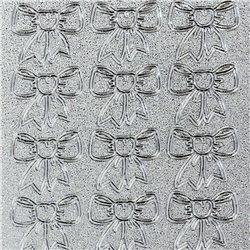 Sticker peel off adhésif argent noeud en ruban.    Les Stickers adhésifs sont des embellissement adhésifs pour le scrapbooking les cartes et faire part.