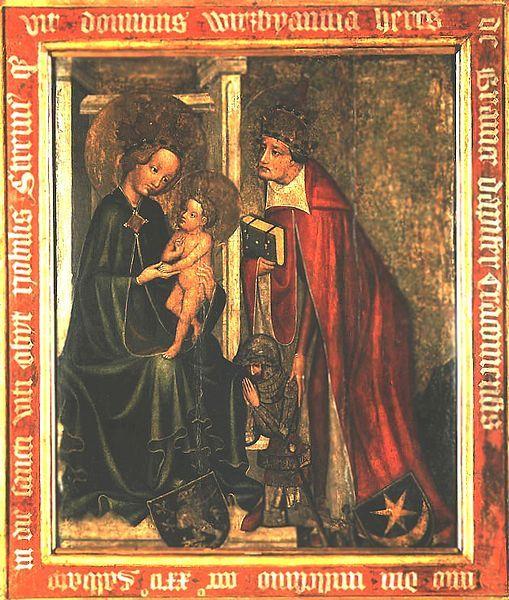 Epitafium Wierzbięty z Branic, początek XV wieku; hieratyzm, ale też i liryzm