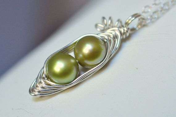 Two peas in a pod peapod necklace  green freshwater pearl by muyinmolly