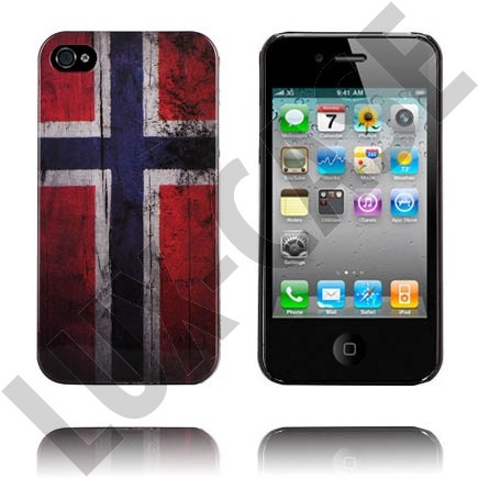 National Flag - Black Edge (The Flag of Norway) iPhone 4/4S Deksel