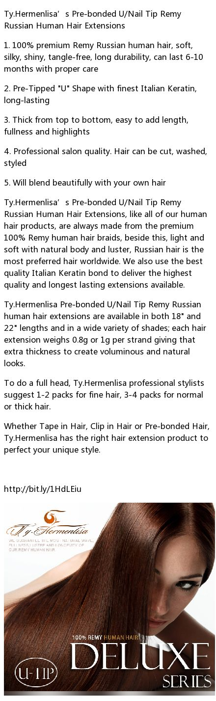 Ty.Hermenlisa's Pre-bonded U_Nail Tip Remy Russian Human Hair Extensions