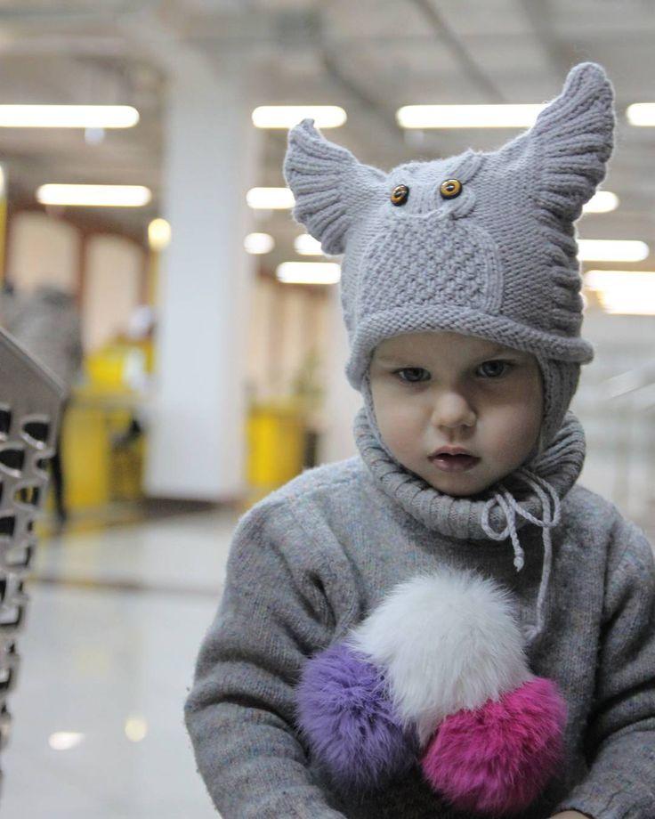 Шапочка-сова улетела к своей хозяйке #шапка#сова #детям  #elenakhra_knit #knitting #knit #детская_шапочка #малышам #малышам#acap