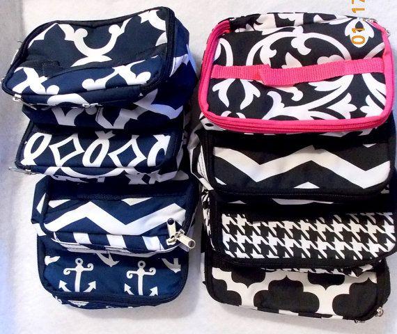 Monogrammed Makup Bag Personalized Makeup Bag by TurtleCoveStudio
