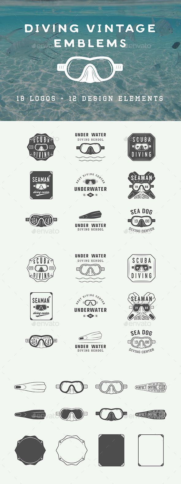 Vintage Diving Emblems - Badges & Stickers Web Elements