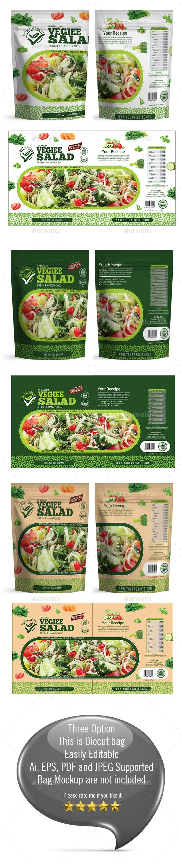 Salad Packaging Templates - #Packaging Print #Templates Download here: https://graphicriver.net/item/salad-packaging-templates/19623993?ref=alena994