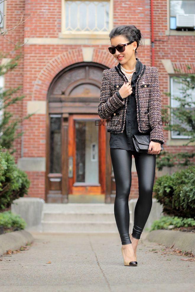 Liquid leggings classed up.  tweed jacket ,black blouse. yes please!