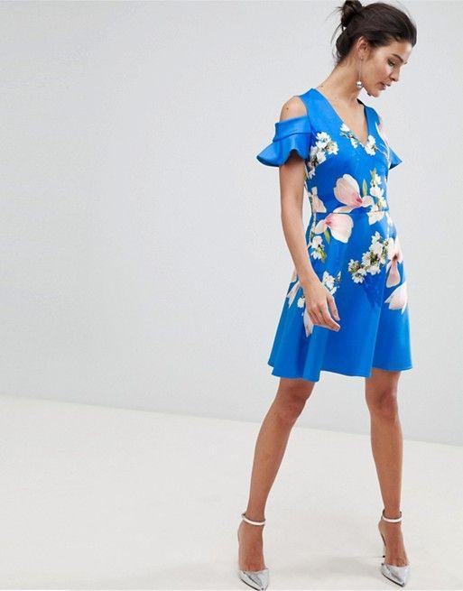 2a4505631 Ted Baker cold shoulder skater dress in harmony floral