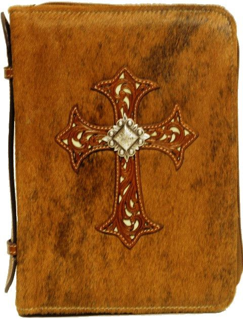 (MFW0652002) Western Hair-On Cowboy Bible Cover with Cross