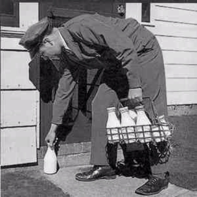 The milk man .  Ours were placed in an insulated box on the front porch.