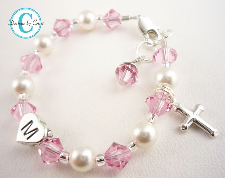Baptism Bracelet Christening Cross Initial Pearl Crystal, chose colors girls, baby, toddler, white pink cream baby gift, first communion. $22.50, via Etsy.