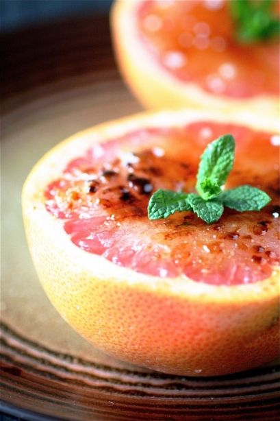 Broiled Grapefruit: Sprinkle brown and white sugar on top. Broil (at 500) for 4-5 mins!