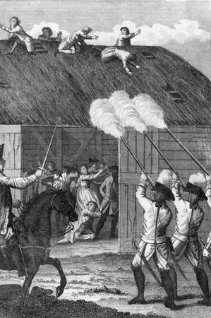 """""""The French Huguenot persecutions. Roman Catholic forces attacking a group of Huguenot worshippers in France, c. 1570.  Credit: Hulton Archive/Getty Images"""""""