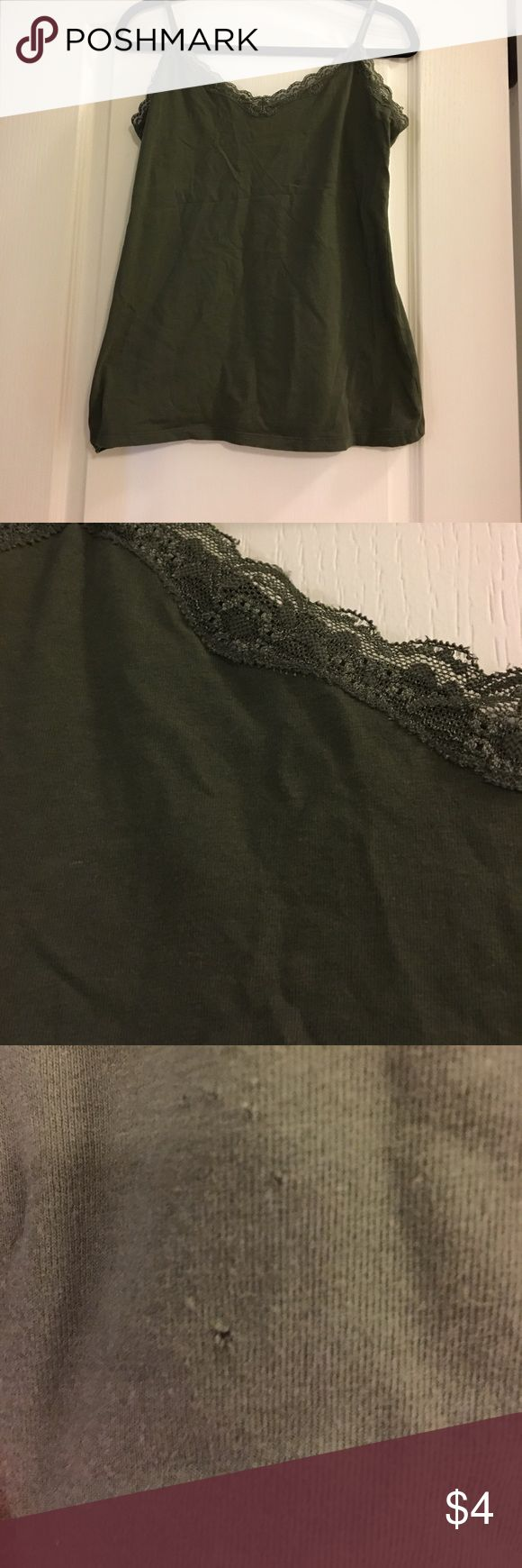 Lace trimmed army green cami Lace trimmed army green cami from Old Navy.  Two tiny holes as indicated in picture.  Barely noticeable and perfect if worn under another garment. Old Navy Tops Camisoles