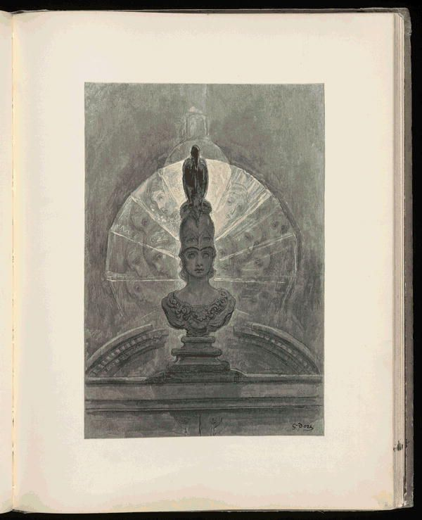 \u201cPerched upon a bust of Pallas just above my chamber door- Perched and