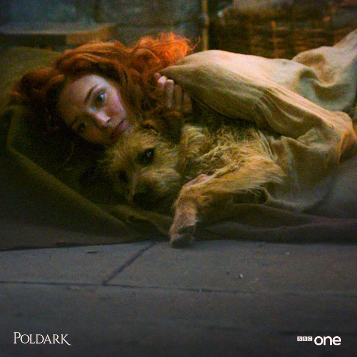 #Poldark    Demelza and Gerrick. (which is actually her dog in real life!)