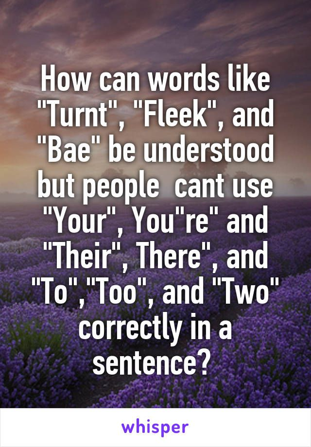 "How can words like ""Turnt"", ""Fleek"", and ""Bae"" be understood but people cant use ""Your"", You""re"" and ""Their"", There"", and ""To"",""Too"", and ""Two"" correctly in a sentence?"