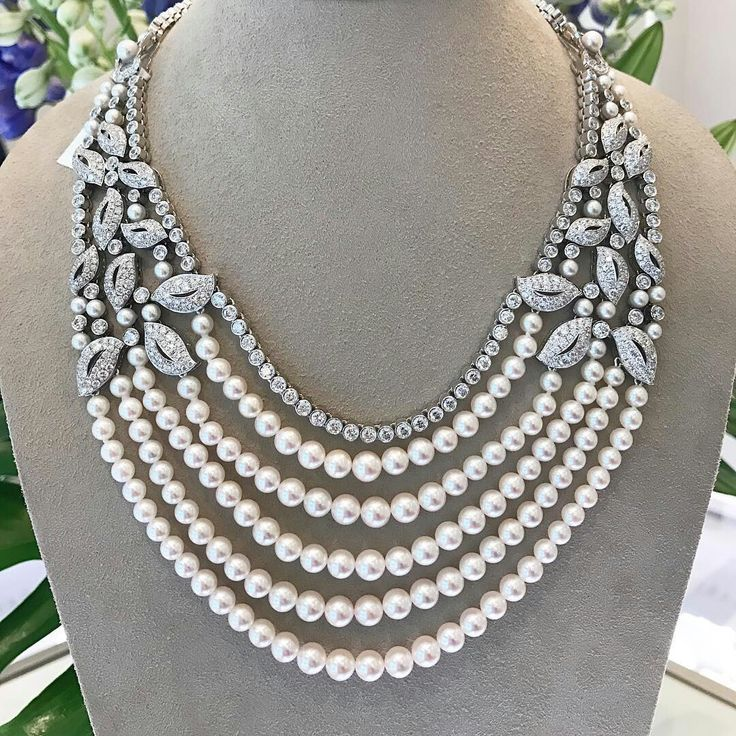 Five precious rows of Pearls set on a spectacular floral necklace, a perfect accompaniment to an evening of glamour #GarrardHighJewellery