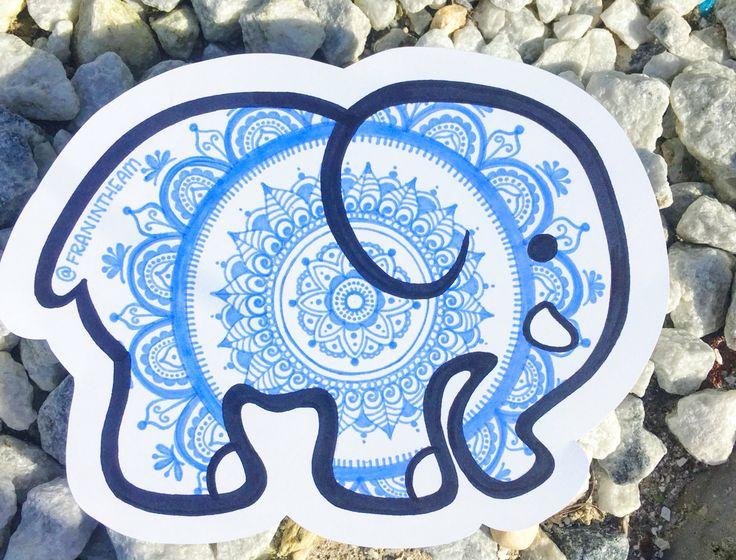 Ivory Ella Mandala Elephant Drawing By Franoramics Com