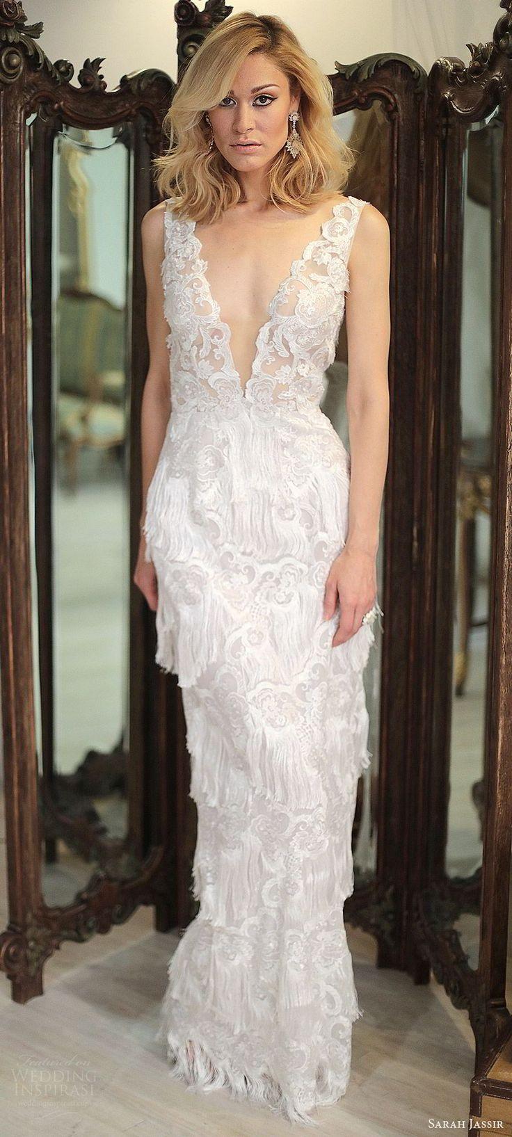sarah jassir bridal 2018 sleeveless illusion straps deep v neck heavily embellished lace sheath wedding dress (ivana) bv sweep train fringe skirt -- Sarah Jassir 2018 Wedding Dresses