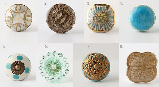 choosing {Anthro} knobs for my window seat drawers...