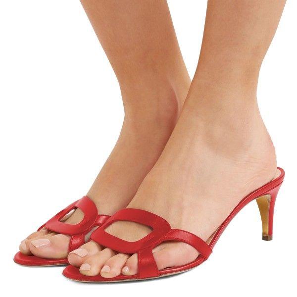 Red Open Toe Kitten Heels Mules For Date Going Out Fsj Mule Sandals Summer Opentoe Chunkyheels Shoes Pumps Vint Heels Low Heel Sandals Sandals Heels