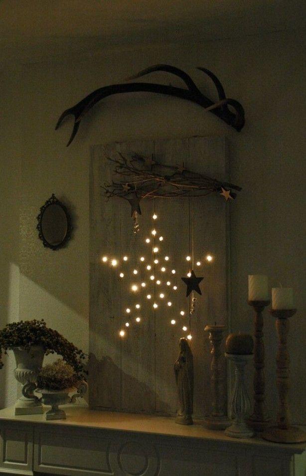 door Pompidompidom: Mijn kerstdecoratie van dit jaar gemaakt van 2 planken 2 latjes slinger met 50 lampjes  en een handige man die het voor mij gemaakt heeft.