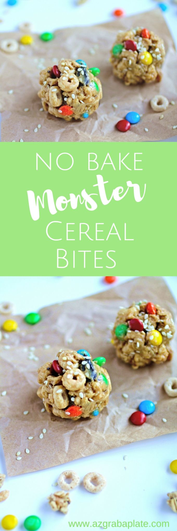 No-Bake Monster Cereal Bites are a fun treat, anytime! You'll love how easy it is to make these snacks!