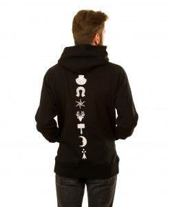 Heraldic Backbone Hoodie in Black